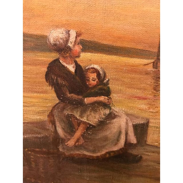 Tan Woman & Child Sitting at the Pier Oil on Canvas For Sale - Image 8 of 11