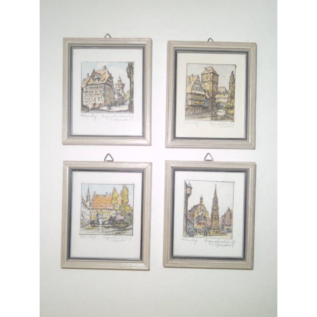 Vintage Small German Colored Etchings - Set of 4 - Image 2 of 10