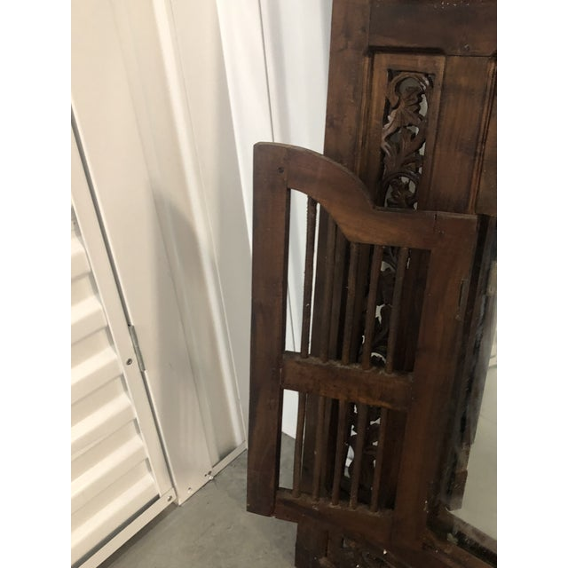 Vintage Hand Carved Wood Indian Wall Mirror For Sale In Miami - Image 6 of 9
