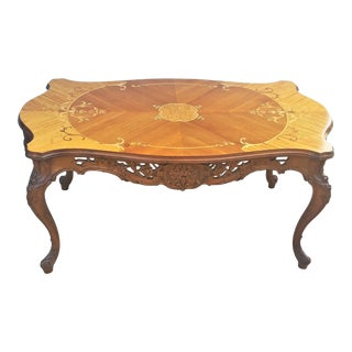 French Style Burl Walnut Carved & Inlaid Coffee Table For Sale