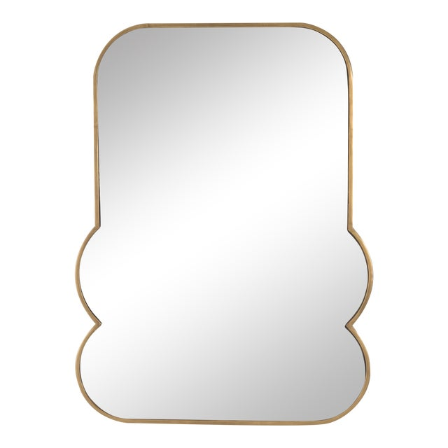 Rose Mirrored Glass & Brass Mirror For Sale