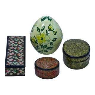 Paper Mache Boxes, Set of 4 For Sale
