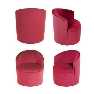 Vintage Barrel Chairs Reupholstered in Hardy Cotton Cerise Pink Velvet - Set of 4 For Sale