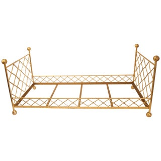 Pair of French Jean Royère Gilded Metal Beds With Braces