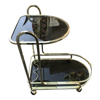 1980s Art Deco Brass Two-Tier Tea Table For Sale