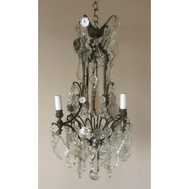 French Four Light Chandelier With Cut Crystal Prisms For Sale - Image 10 of 12