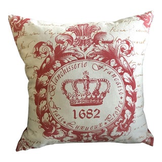 French Style Red Pillow With Crown
