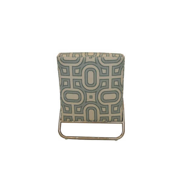 Organic Modern White and Teal Patterned Neo Club Chair For Sale - Image 4 of 6