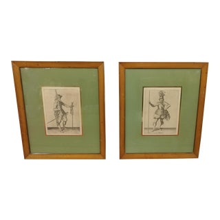 Antique Soldiers With Weapons Engravings - A Pair For Sale