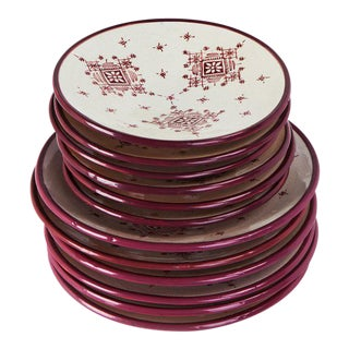 Hand Painted Moroccan Ceramic Plates - Set of 8 For Sale