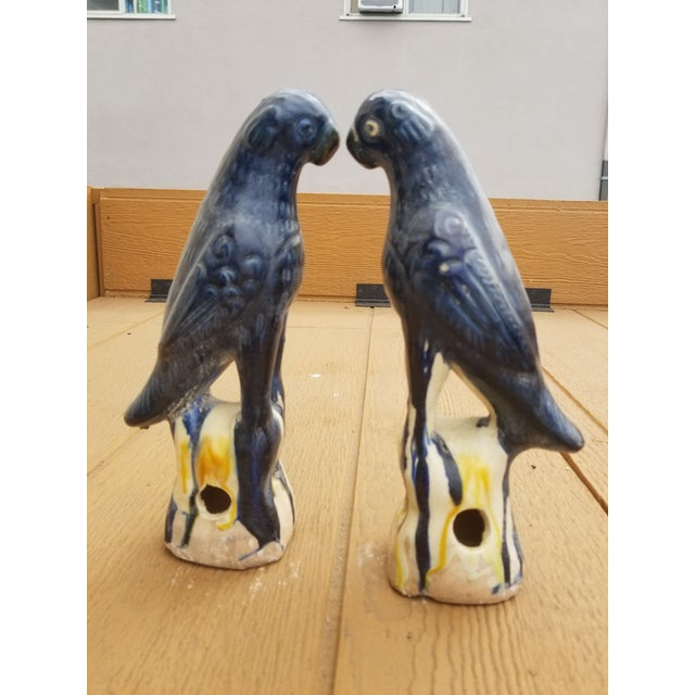 1970s Blue Majolica Parrot Finials Pair For Sale - Image 5 of 5