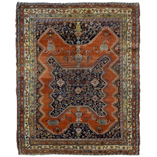 "1900s Handmade Antique Persian Mishan Malayer Rug - 4'9"" X 6' For Sale In New York - Image 6 of 6"