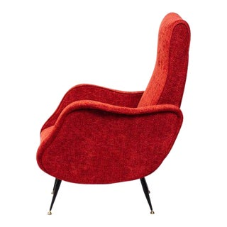 Italian Mid-Century Modern Lounge Chair in Vibrant Woven Red For Sale