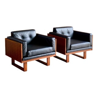 Poul Cadovius Woven Teak Black Leather Armchairs by France & Son circa 1960 - A Pair For Sale