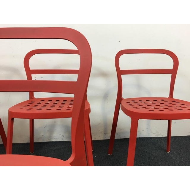 Set of 4 Contemporary Painted Red Metal Side Chairs - Image 5 of 7