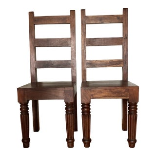 Vintage Handcrafted Solid Walnut Wooden Chairs - a Pair For Sale