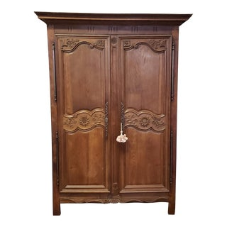 Antique 18th Century French Normandy Country Double Door Wedding Armoire Cabinet C1790 For Sale