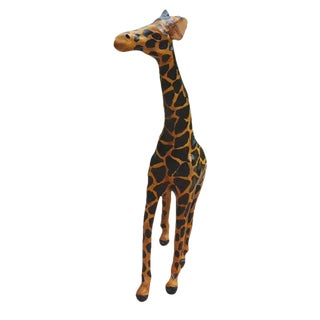Handmade Leather Covered Papier Mache Giraffe Figurine For Sale