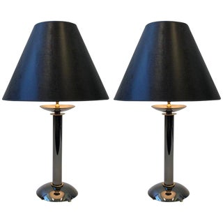 Pair of Brass and Gunmetal Table Lamps by Karl Springer For Sale