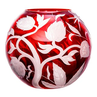 ARTEL Jungle Deco Round Vase in Red For Sale