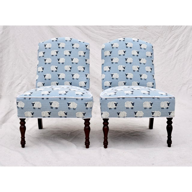 """Scalamandre, """" Ewe Too in Blue"""" Petite Antique Slipper Chairs For Sale - Image 13 of 13"""