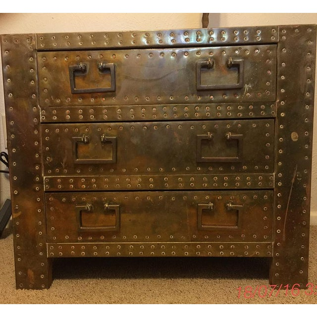 Sarreid Brass Clad Chest with Hand Hammered Nails - Image 2 of 3