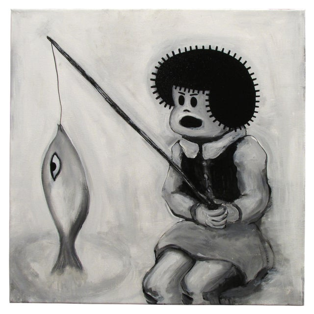 """Fishin'"" Pop Art Cartoon by Junior Martin - Image 1 of 3"