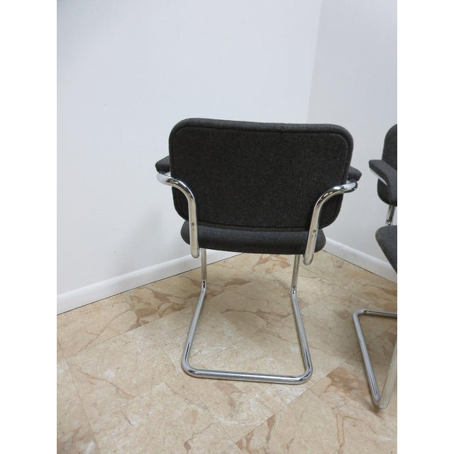 Knoll Arm Chrome Cantilever Arm Chairs - A Pair For Sale - Image 5 of 9