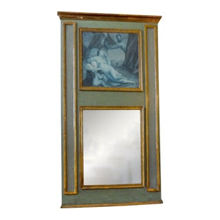 19th Century French Louis XVI Style Grasaille Trumeau Mirror For Sale