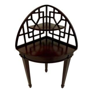 Chinoiserie Espresso Corner Table For Sale