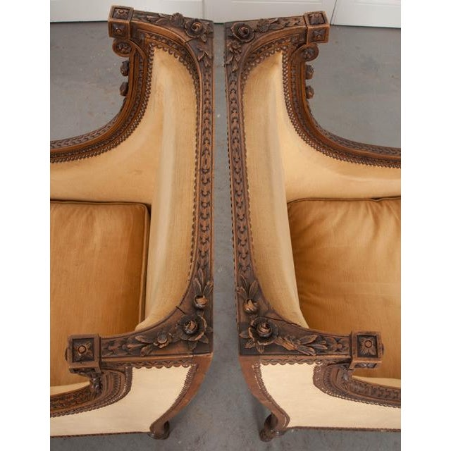 French 19th Century Louis XVI Carved Walnut Bergères - a Pair For Sale - Image 9 of 12