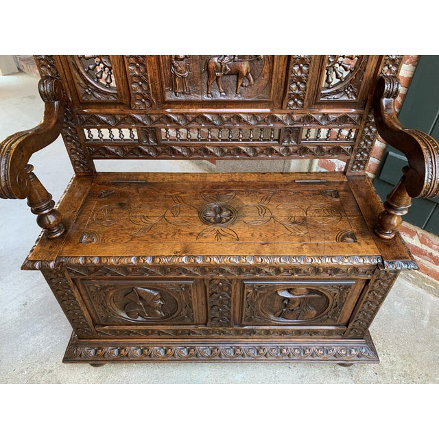 19th Century French Carved Oak Hall Bench Breton Brittany Pew Banquette For Sale In Dallas - Image 6 of 13