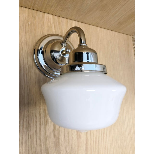 Mid-Century Modern Hudson Valley School House Milk Glass Shade & Nickel Wall Sconce For Sale - Image 3 of 4