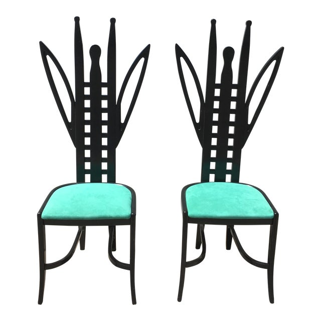 Memphis Grasshopper Chairs Attributed to Ugo La Pietra Pair For Sale
