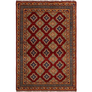 Southwestern Balouchi Galina Red/Teal Wool Rug - 3'4 X 5'2 For Sale