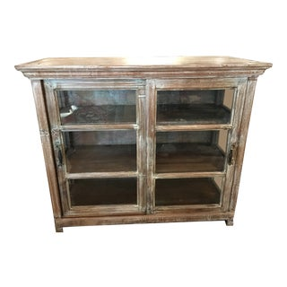 Rustic Reclaimed Wood Glass Display Cabinet For Sale
