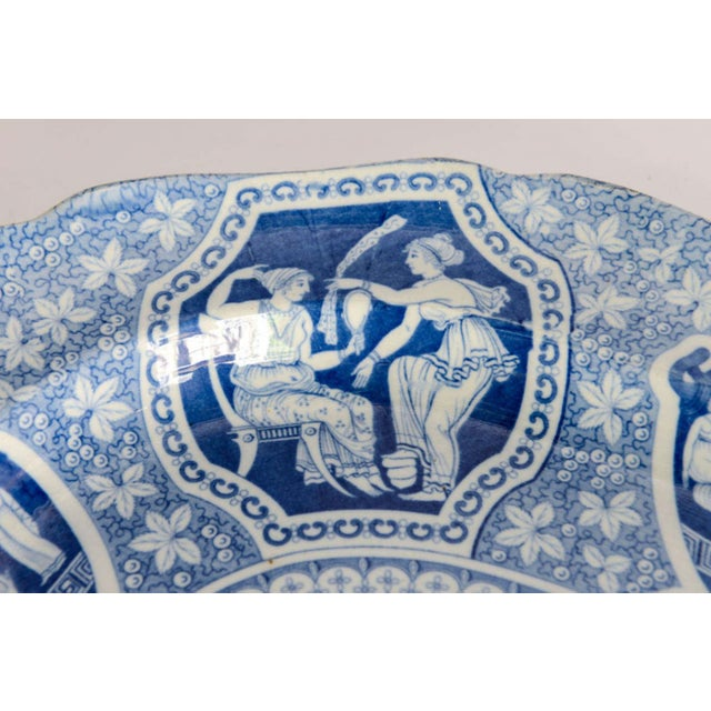 """Blue Two Large Spode """"Greek"""" Platters, England, Early 19th Century For Sale - Image 8 of 9"""