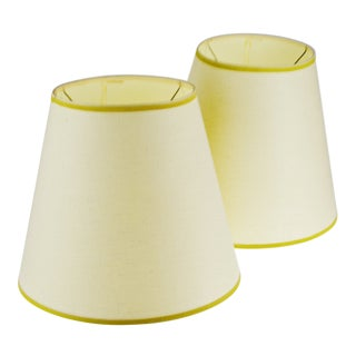 Vintage Bell Shape Linen Fabric Lamp Shades - a Pair For Sale