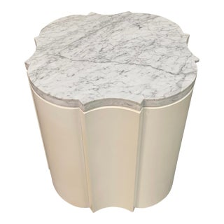 Universal Furniture White Marble Top Side Accent Table For Sale