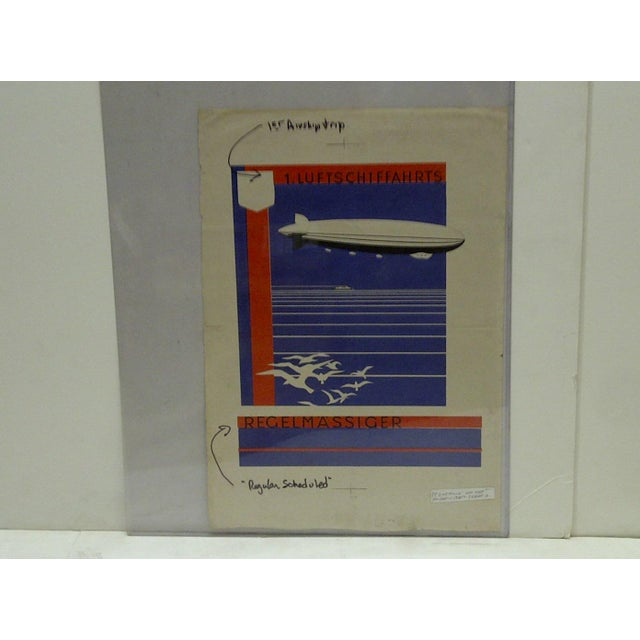 Americana C. 1920 First Zeppelin Non-Stop Flight Artist Proof for Poster For Sale - Image 3 of 5