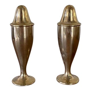 Pair, Solid Brass Salt and Pepper Shakers For Sale
