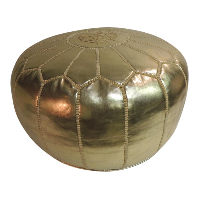 Round Boho Chic Gold Moroccan Ottoman For Sale