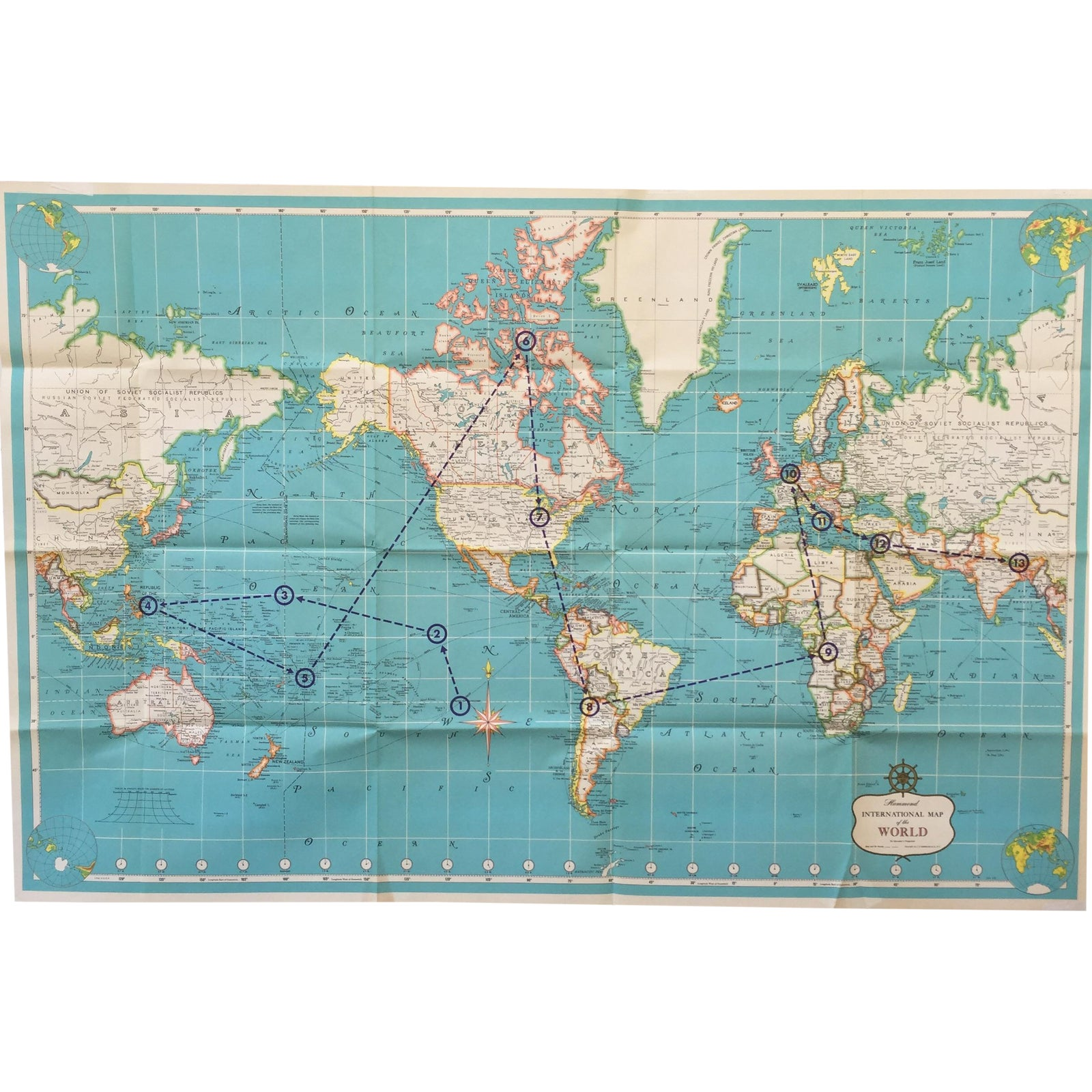 Vintage International Map of the World by Hammond | Chairish