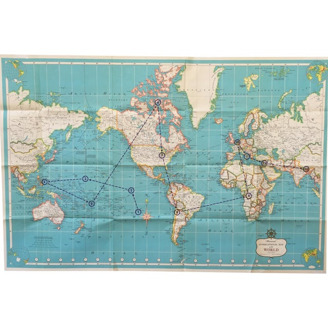 Vintage International Map of the World by Hammond - Image 1 of 10