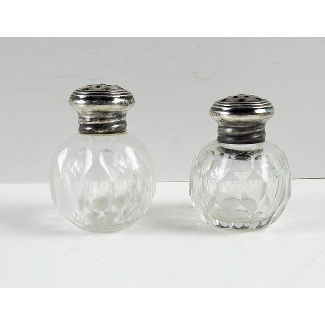 Antique Crystal & Sterling Salt & Pepper Shakers - A Pair For Sale - Image 4 of 4