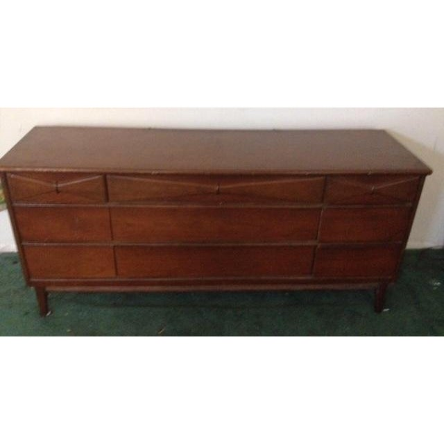 Bassett Mid Century Modern -All 3 Pieces-Triple Dresser W Mirror and Chest on Chest in Bow Tie Style - Image 9 of 9