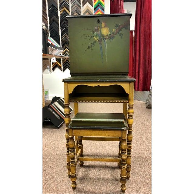 1920s Americana Green Wooden Telephone Table For Sale - Image 11 of 11