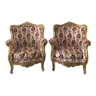 Late 19th Century Baroque Rococo Bergère-Style Chairs - a Pair For Sale
