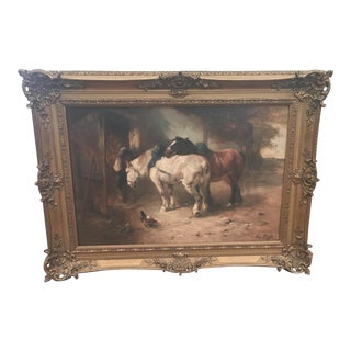19th Century Henry Schouten Horses in Farmyard Painting For Sale