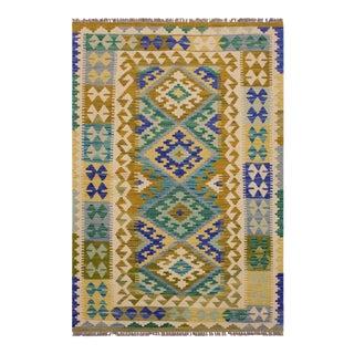 Kilim Altha Hand-Woven Wool Rug -3′4″ × 5′1″ For Sale